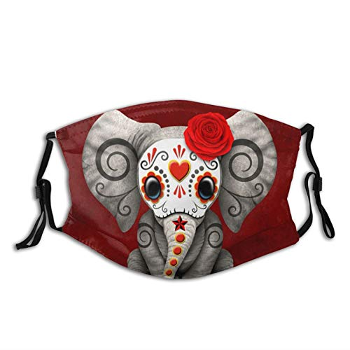 Sugar Skull Animal Elephant Face Mask,Reusable Fabric Cloth,Fashion Scarves Balaclava Waterproof With 2 Filters for Adult Women Men