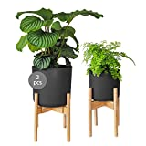 Gadgy Soporte Plantas Interior y Exterior | Juego de 2 Soportes de Macetas Expandible | Bambú Duradero | para macetas de Ø 20-30 cm. | Maceta y Planta no Incluidas