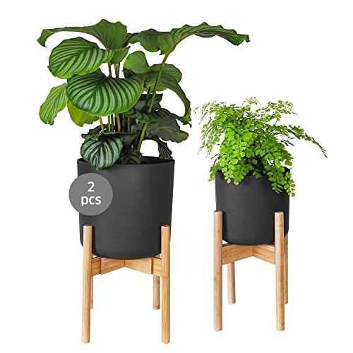 Gadgy Blumenständer Holz   Set 2 Stück Bambus Pflanzenständer   Verstellbare Blumentopf Ständer für Blumentopf bis Ø 30 cm.   Blumentopfständer   Blumentopf mit Beinen