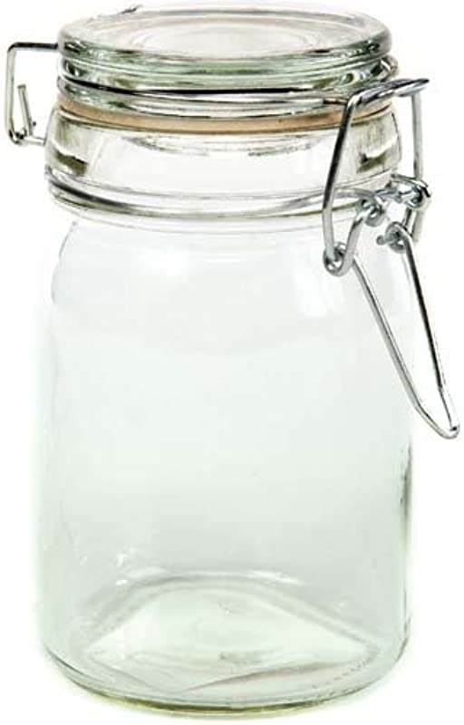 Creative Hobbies Clear Glass Jars With Locking Lids 4 5 High X 2 5 Round Holds 8 Fl Oz Box Of 6 Jars
