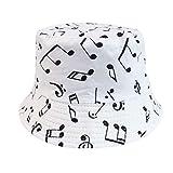 Reversible Negro Blanco patrón Sombreros de Cubo Gorros de Pescador para Mujer Gorras Verano-Music Note