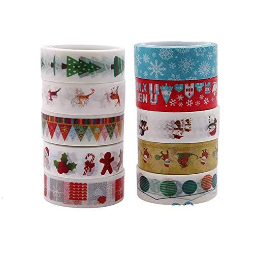 BESTZY 10pcs Noël Washi Tape, Multi-pattern Washi Tape Ruban Adhésif Papier Décoratif Masking tape Scrapbooking