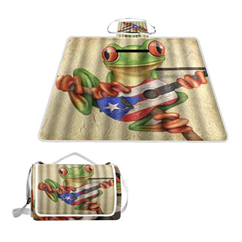 XINGAKA Picknickdecke,Frosch spielt Puerto Rico Flag Gitarre,Outdoor Stranddecke wasserdichte sanddichte tolle Picknick Matte