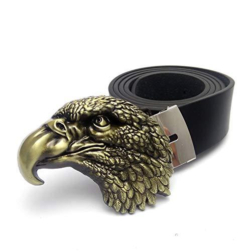 WDYDDW Cinturón Hombre Cinturones Cowboy Hombres American Eagle Head Hebilla De Cinturón 3D Cinturón De Cuero Negro para Hombres, como Se Muestra, 115Cm