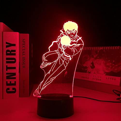 Lámpara de anime 3D para niños, Yu Yu Hakusho Figuer Yusuke Urameshi Luz de noche LED para decoración de dormitorio Mesa de luz de noche colorida para regalo de cumpleaños