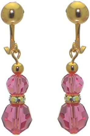 AMUNET gold plated rose pink crystal clip on earrings
