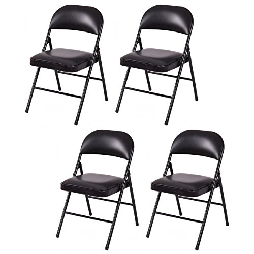 COSTWAY 4er Set Klappstuhl, Besucherstuhl, Konferenzstuhl, Esszimmerstuhl, Küchenstuhl mit Metallgestell, für Konferenzraum, Esszimmer, Wohnzimmer und Restaurant, schwarz