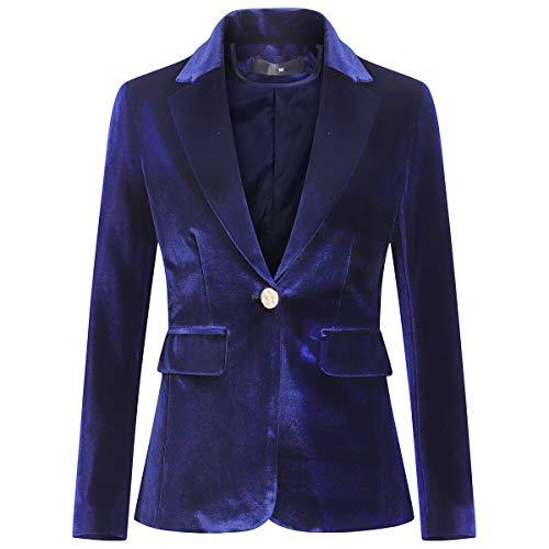 Women's Velvet 1 Button Blazer Jacket Office Work Suit Jacket Party Dress Coat Blue