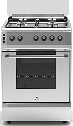 ALPHA Cocina de Gas VULCANO LUX-60 Inox, Encendido automático, corte de gas seguro y temporizador en horno. **Alta Gama**
