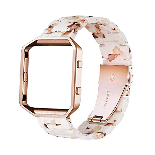 Ayeger Resin Band Compatible with Fitbit Blaze,Women Men Metal Frame Housing+ Resin Accessory Band Wristband Strap Blacelet (Bubbly Nougat White)