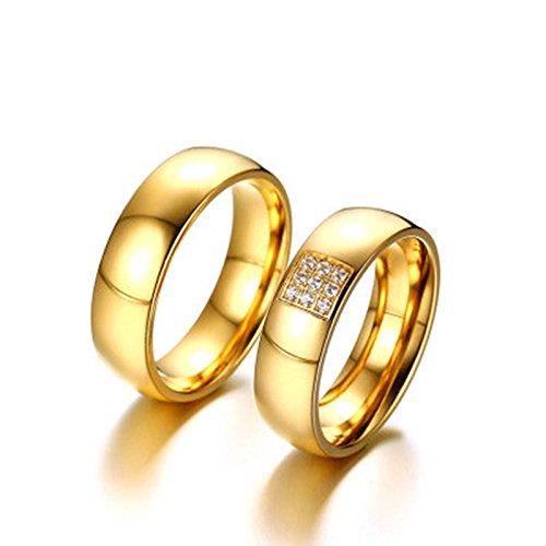 Bishilin Mode 2 Stücke Herren Damen Ringe Edelstahl Hochglanzpoliert Zirkonia Rund Breite 6MM Paarringe Hochzeitsringe Verlobung Ring Gold Demen Größe 54 (17.2)&Herren Größe 67 (21.3)