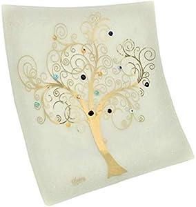 Sospiri Venezia-Centro de mesa de cristal de Murano con árbol de la vida,30x30 cm,técnica de vitrofusión,decoración murrinas de Murano y hoja dorada,hecho a mano por artesanos venecianos(40x40,blanco)
