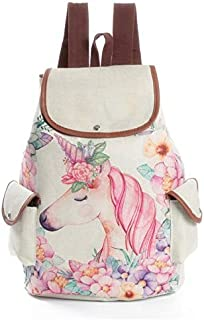 Unicorn Printing Linen Backpacks Miyahouse Fresh Design Women Printed Unicorn Backpack School