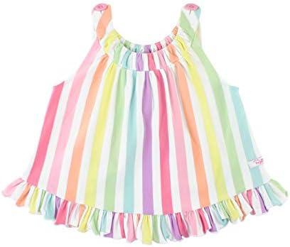 RuffleButts Baby Toddler Girls Rainbow Stripe Knit Ruffle Swing Top 0 3m product image