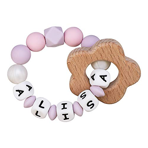 Silicone Teething Ring Personalised Name Wooden Flower Toy Baby Girls Bracelet Teething Relief Chewable Beads Binky Teether Holder Set BPA Free