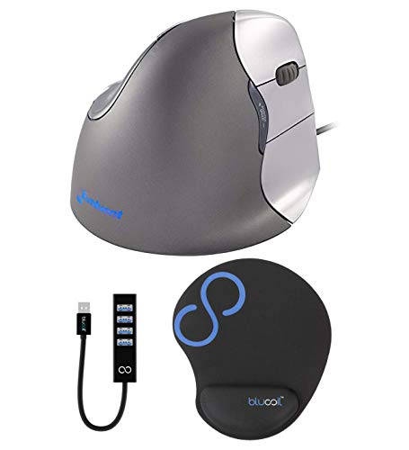 Evoluent VM4R VerticalMouse 4 Right Ergonomic Mouse with Wired USB Connection (Regular Hand Size) Bundle with Blucoil Mousepad with Wrist Rest Support, and USB Type-A Mini Hub with 4 USB Ports