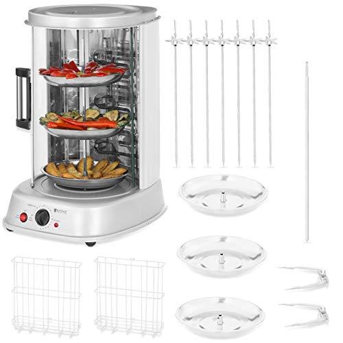 Royal Catering Rôtissoire Verticale Machine À Kébab Poulet Électrique Appareil Mini Machine Grill Rotatif RCGV-1800 (4-en-1, 1 800 W, 160 °C max, Minuterie 90 min, Nombreux Accessoires)