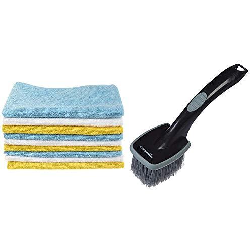 AmazonBasics Microfibre Cleaning Cloths Pack of 24 & Wheel Brush, Short Handle
