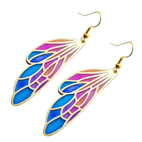Shubiao Coloridos pendientes de aleación de Cicada de color degradado acrílico alas pendientes pendientes pendientes pendientes pendientes pendientes de oreja joyería para mujeres