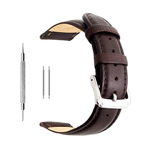Berfine 22mm Brown Calf Leather Watch Band Replacement,Extra Soft Watch Strap for Men Women