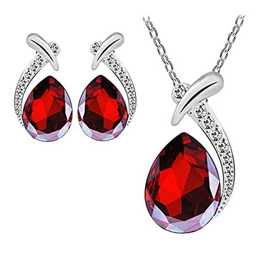 collar Joyería De Mujer Colgante De Cristal Cadena De Perno Prisionero Conjunto De Moda Joyería De Boda Para Mujer Blanco Púrpura Rojo Azul