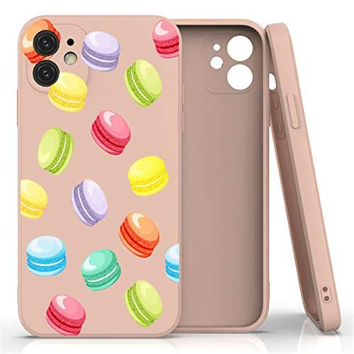 Mixroom - Cover Custodia per iPhone 7 Plus in Silicone TPU Opaco con Bordi Piatti Colore Rosa Fantasia Fantasia MACARONES Dolci 308