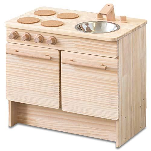 RiZKiZ 木製 おままごとキッチン おもちゃ アイランドキッチン 収納付き 安心安全設計 子供用 組立式