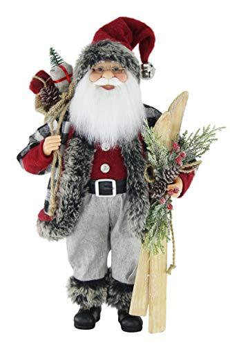 16' Inch Standing Skier Black & White Checkered Santa Claus Christmas Figurine Figure Decoration 169260