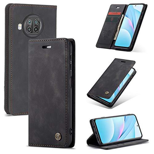 KONEE Coque Compatible avec Xiaomi Mi 10T Lite 5G, Premium PU Portefeuille Étui Housse en Cuir [Carte Fentes] Antichoc Étui à Rabat Pochette pour Xiaomi Mi 10T Lite 5G - Noir