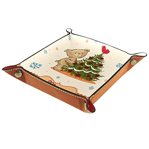 Bandeja de Valet de Cuero, Bandeja de Dados, Soporte Cuadrado Plegable, Placa organizadora de tocador para Cambiar Monedas, Oso de Peluche, árbol de Navidad, Copo de Nieve