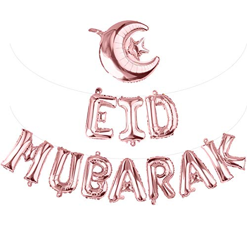 Eid Mubarak Foil Balloons Set with Star and Moon Balloon Banner Self-Inflating Aluminum Garland 5 Meters of Ribbon Gift Set for Muslim Ramadan EID Party Decoration Supplies(Rose Gold)