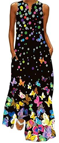 WINKEEY Vestido Maxi para Mujer Estampado Floral Padel Larga Elegante