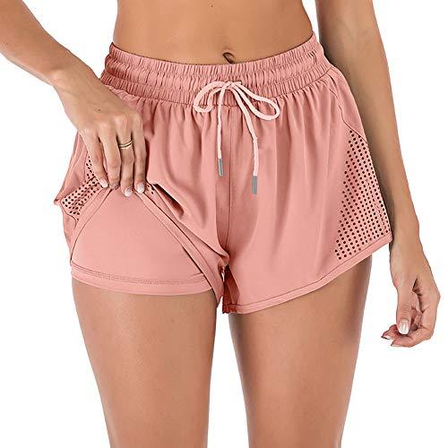 iClosam Pantalones Deportivo Corto Mujer, Pantalones Tejido Secado Rápido Pantalón Cintura Elástica para Deportes Yoga Gimnasio Casual Ejercicio Fitness