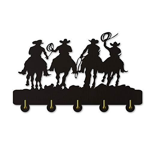 Ganchos para colgar ropa Vaquero del oeste silueta gancho dominante de la pared de madera gancho sombrero de abrigo ropa de instalación de la puerta / perchero / gancho de la pared del gancho moderna