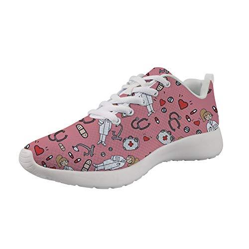 Upetstory Stylish Flat Sneakers Softness Nurse Design Mesh Breathable Sport Running Tennis Athletic Walking Shoes Best for Girls Women Gift 7