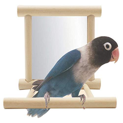 Loro Soporte con el Espejo, Natural de Las Aves Las Perchas de Madera, Metal Gancho Loro oscilación zcaqtajro