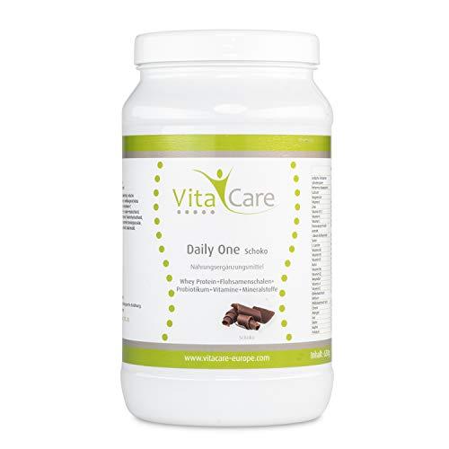 VitaCare Daily One Protein-Shake Schokolade 630g - Whey-Proteinpulver mit Flohsamenschalenpulver & Probiotikum - Mit nur 94 kcal pro Portion ideal zum Abnehmen