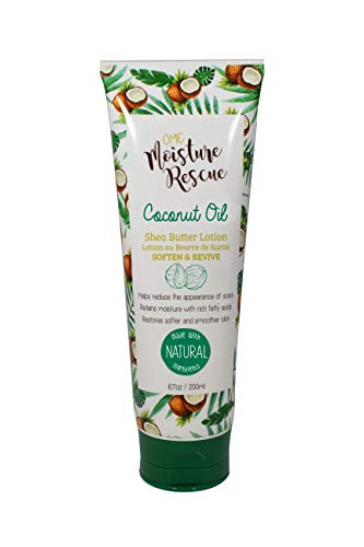 Omic Moisture Rescue Shea Butter Tube Lotion with Coconut Oil, 6.7 Fl oz / 200ml - Hydrating Lotion Helps With Eczema, Stretch Marks, and Improves Skin Elasticity for Body or Hand Cream