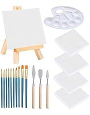 Sweieoni Mini Lienzo 19 PCS Juego de Caballete de Madera Mini Paneles 15x15cm Mini Panel mini Paneles de Lona Tableros de Arte para Pintura al óleo en Blanco