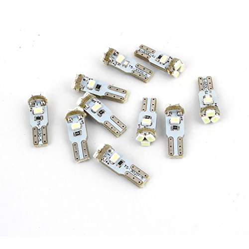 sourcing map 10pcs Ice Blue T5 Cale 3020 SMD 5-LED Ampoules Phare Auto DC 12V Interne