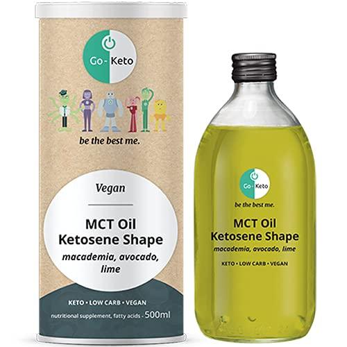 Go-Keto Ketosene® Shape, Olio MCT 500ml   olio verde MCT C8/C10, 100% olio di cocco no olio palma, con Omega-7 avocado & macadamia  per keto dieta  ideale per keto shake   paleo, vegan, Low Carb
