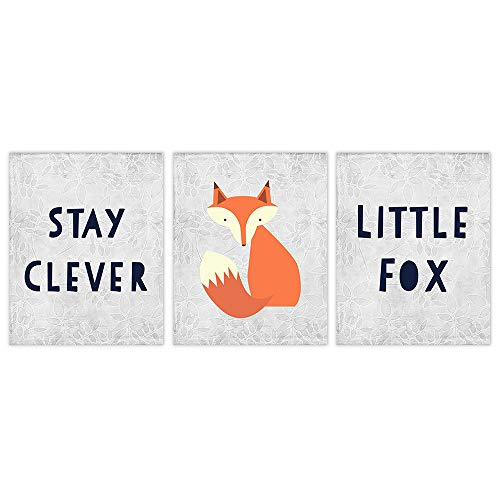 Stay Clever Little Fox Art Prints (Set of 3) - Unframed - 8x10s