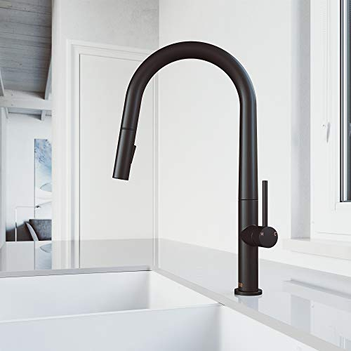 VIGO VG02029MB Greenwich 18 Inch Single Handle Brass Kitchen Faucet with Pull Down Sprayer, Commercial Centerset Single Hole Kitchen Sink Faucet, Plated Seven Layer Matte Black Finish
