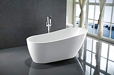 Vanity Art 54.7-inch Freestanding White Acrylic Bathtub | UPC certified Modern Stand Alone Soaking Tub with Polished Chrome Slotted Overflow & Pop-up Drain - VA6522-S