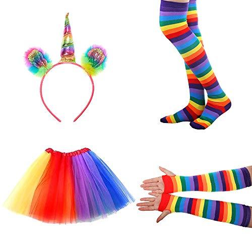 NETUME Einhorn Kostüm Damen, Einhorn Haarreif Mädchen Regenbogen Tutu Rock Regenbogen Socken Handschuhe Damen, Halloween Kostüme Erwachsene Tütü Regenbogen Kleid Faschingskostüme
