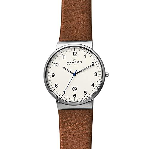 Skagen Men's Ancher Quartz Stainless Steel and Leather Watch