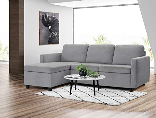 Pawnova Convertible Sectional Sofa Couch L-Shaped Settee with Soft Seat, Comfortable Backrest and Modern Linen Fabric for Small Space, Living Room, Gray