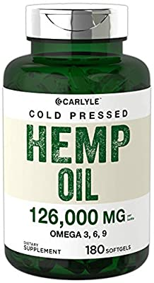 Hemp Oil Capsules | 126,000 mg Per Bottle | 180 Softgels | Max Potency | Non-GMO, Gluten Free | Cold Pressed Supplement from Hemp Seeds | by Carlyle from Carlyle