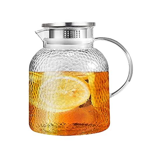H·Aimee Jarra de Agua de Vidrio,Jarra de Vidrio de 1.75L con Jarra de Jugo de Jarra Jarra de Agua Jarra para Agua Caliente/fría,té Helado y Bebidas de Jugo
