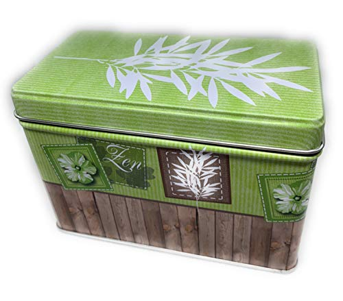 Perfekto24 Aufbewahrungs- Metalldose - Teedose 'Zen' mit Deckel, Metall Dose 12,8 x 6,7 x 8,5 cm groß, eckig, leer, grün, Aufbewahrungsbox, Blechdose, Vorratsdose universell einsetzbar